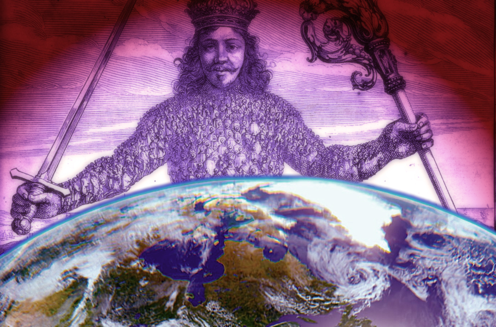 Hobbes's Leviathan overseeing Planet Earth